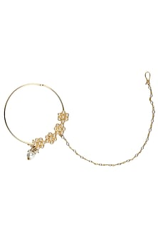 Gold Plated Handcrafted Mughal 4 Flower Nath With Pearl Drops by Raabta