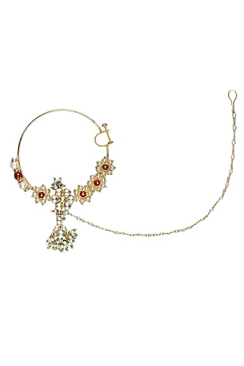 Gold Plated Handcrafted Kundan, Emerald And Stimulated Rubies Studded Mughal Bridal Nath by Raabta