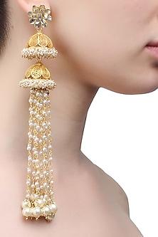 Gold plated double jhumki pearl chain earrings by Raabta