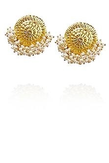 Gold plated pearl hanging temple stud earrings by Raabta