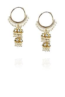 Gold plated bali double jhumki earrings by Raabta
