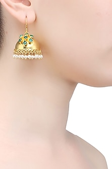 Gold plated green onyx jhumki earrings by Raabta