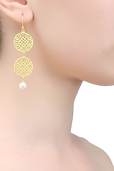 Gold plated geometric filigree earrings by Raabta