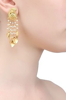 Gold plated paisley temple earrings by Raabta