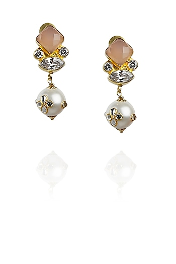 Gold plated rose quartz and kundan pearl earrings by Raabta