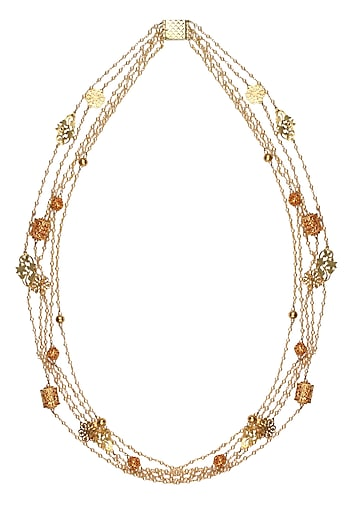 Gold Plated Ornamental Jali Motifs Pearl Strand Necklace by Raabta