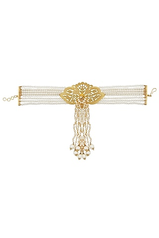 Gold Plated Textured Orchid Flower And Pearl Strings Drop Hanging Armlet by Raabta