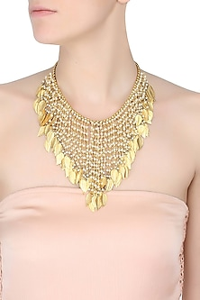 Gold Plated Leaf Cascade Necklace by Raabta