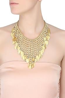 Gold Plated Leaf Cascade Necklace by Raabta
