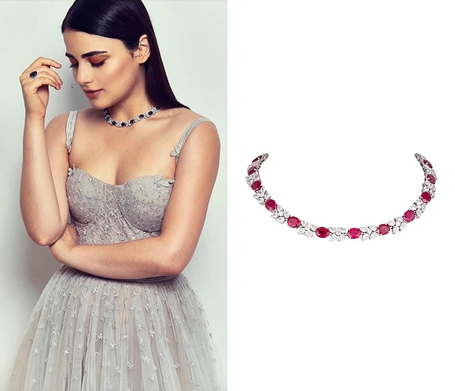 White Finish Red Swarovski Necklace by Diosa Paris