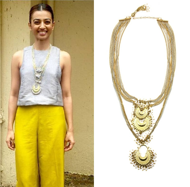 Gold plated crescent pearl drop pendants necklace by Ritika Sachdeva