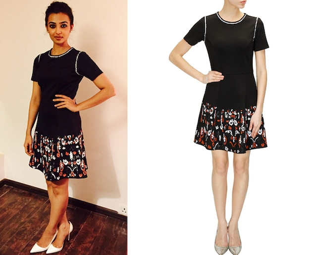 Black sequins embroidered skater dress by Namrata Joshipura