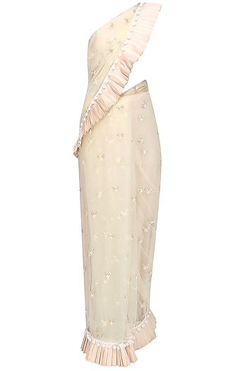 Ivory pearl embroidered pleated saree by Rianta's