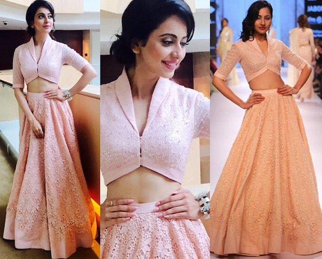 Peach Cutdana and Kachra Work Croptop Lehenga Set by Neeta Lulla