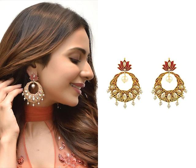 Gold Finish Enamled Lotus Earrings With Swarovski Crystals by Nida Mahmood X Confluence