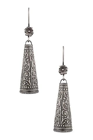 Silver Engraved Cone Earrings by Ranakah