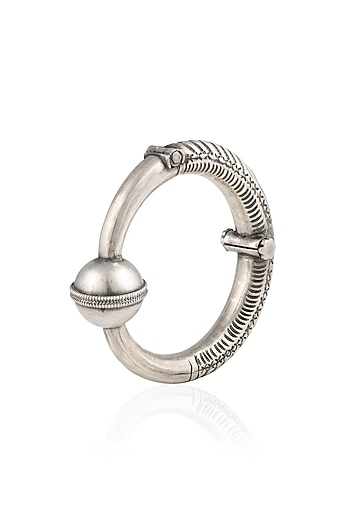 Silver One Bead Head Kada/ Bangle by Ranakah