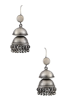 Silver Layered Jhumki Earrings by Ranakah