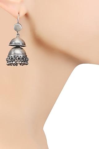 Silver Layered Jhumki Earrings by Ranakah