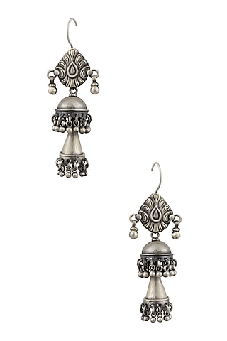 Silver Long and Short Layered Earrings by Ranakah
