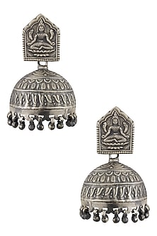 Silver Goddess Lakshmi Earrings by Ranakah