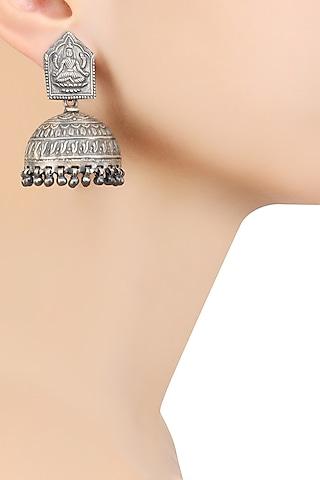 Silver Goddess Lakshmi Earrings by Ranakah