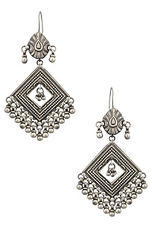 Silver Patra Diamond Shaped Earrings by Ranakah