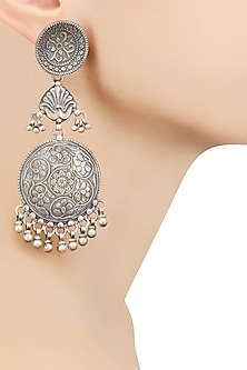 Silver Round Patra Earrings by Ranakah