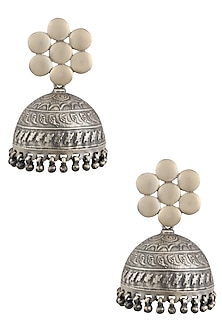 Silver Flower and Jhumki Earrings by Ranakah