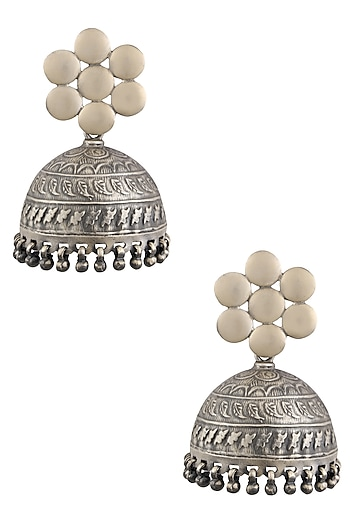 Silver Flower and Jhumki Earrings by Ranakah