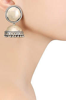 Silver 2 Moons Jhumki Earrings by Ranakah
