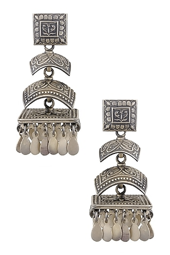 Silver 3 Jhumki Earrings by Ranakah