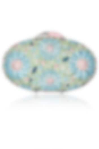 Blue and pink swarovski crystal metal oval clutch by Radhapriya