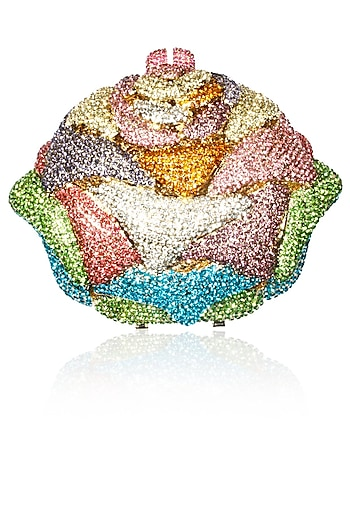 Multicolor swarovski crystal and stones ice cream shape clutch by Radhapriya