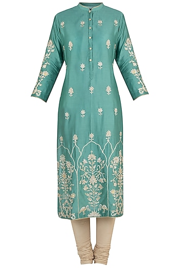 Moss green embroidered tunic by RAR STUDIO
