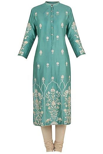 Moss green embroidered tunic by RAR STUDIO