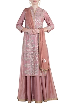 Old rose embroidered anarkali set by RAR STUDIO