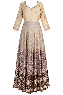 Beige embroidered anarkali set by RAR STUDIO