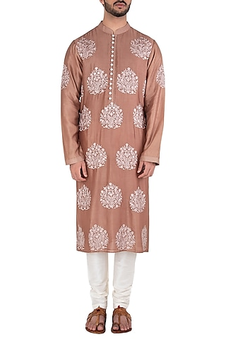 Light Brown Embroidered Kurta by RAR Studio Men