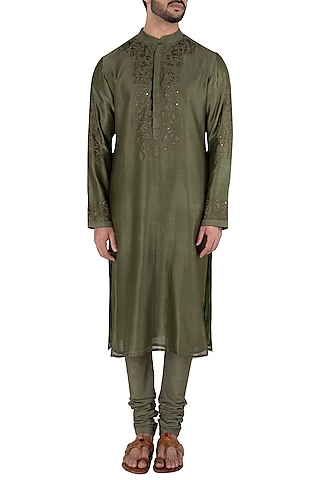 Seaweed Green Embroidered Kurta Set by RAR Studio Men