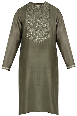 Dark Green Embroidered Kurta by RAR Studio Men