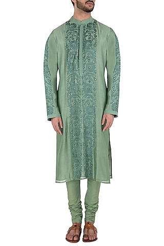 Moss Green Embroidered Kurta Set by RAR Studio Men