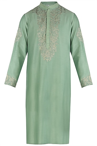 Moss Green Embroidered Kurta by RAR Studio Men
