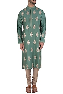 Green Embroidered Kurta by RAR Studio Men