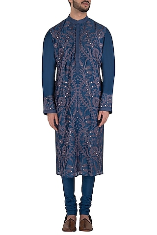 Indigo Embroidered Kurta Set by RAR Studio Men