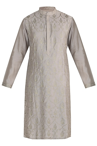 Ecru Hand Embroidered Kurta by RAR Studio Men