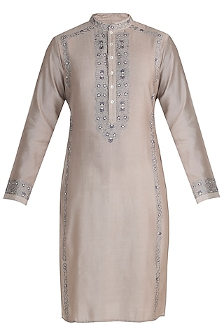 Ecru Embroidered Chanderi Kurta by RAR Studio Men