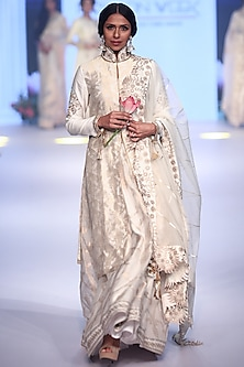 Ivory Embroidered Peacock Anarkali Set by RAR Studio