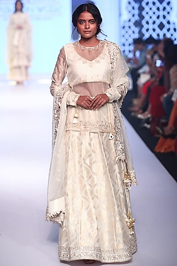 Ivory Embroidered Lehenga Set by RAR Studio