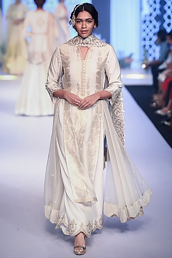 Ivory Embroidered Floral Anarkali Set by RAR Studio